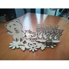 Napkin and glasses holder bear design