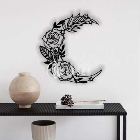 Moon with flowers design