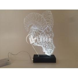 Lámpara cabeza de carnero Corte Laser