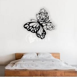 Mariposa y flores Corte Laser