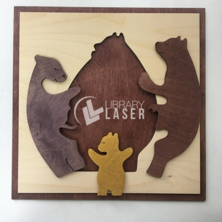 Bears puzzle for Laser Cutting