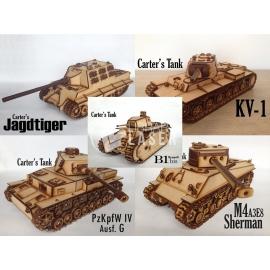 Pack 5 war tanks for Laser Cutting