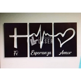 Faith, hope and love painting for Laser Cutting