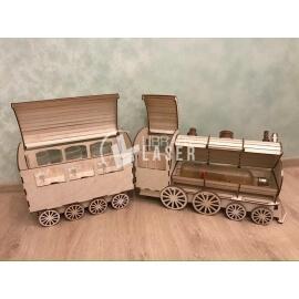 Diseño de licorera con forma de tren